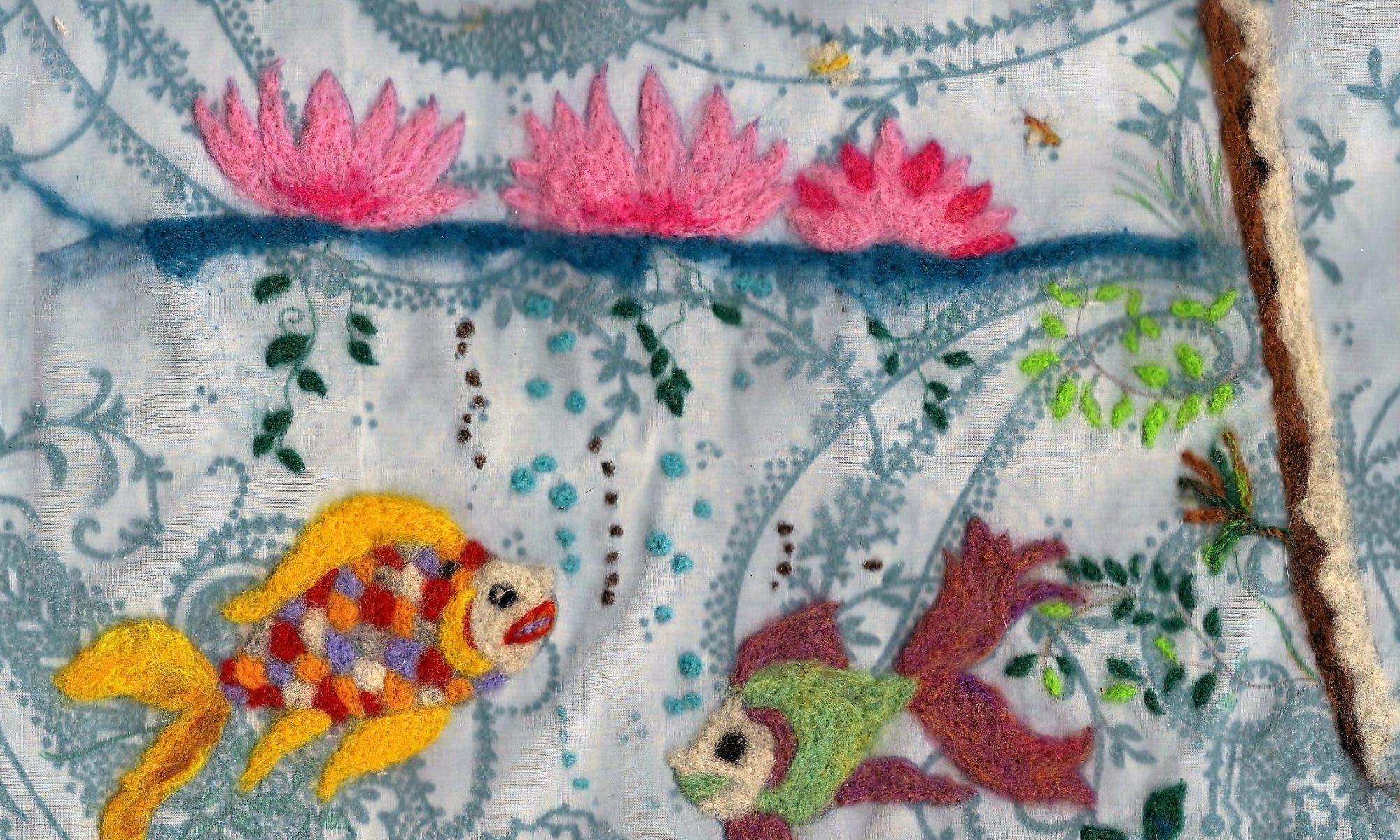 Tableau en laine feutrée poisson